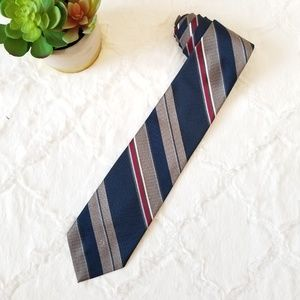 Christian Dior Blue Maroon Gray Stiped Neck Tie
